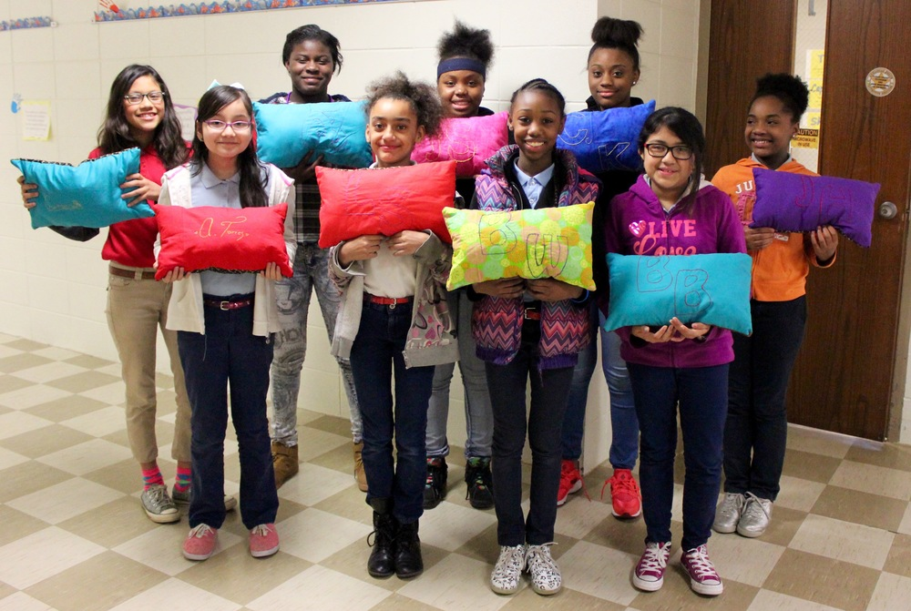 "Ms. Karen Flenory's ""It's Fashion"" class designed and made pillows."