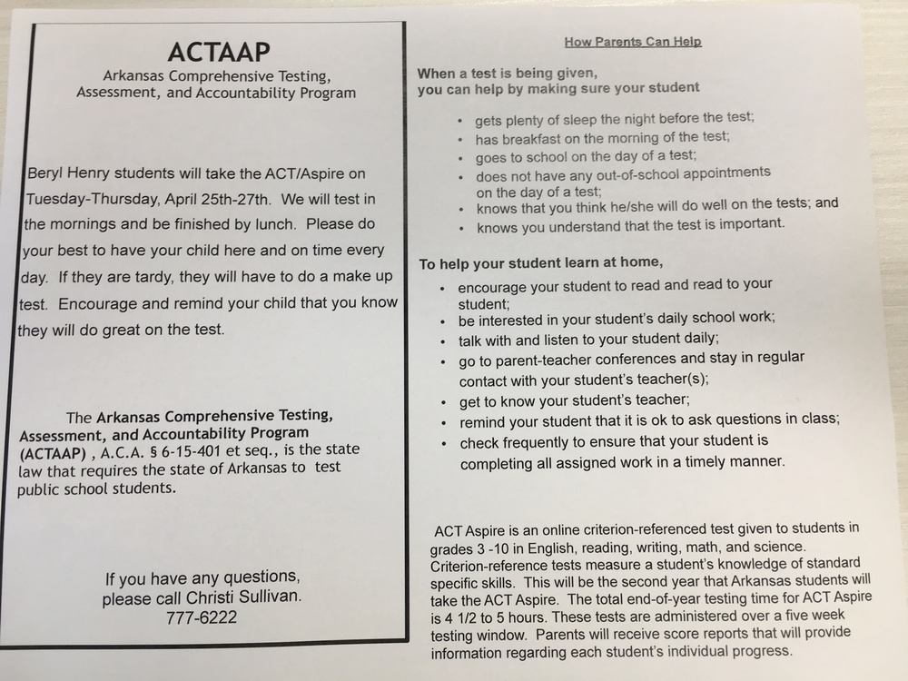 BHE ACT/Aspire Testing
