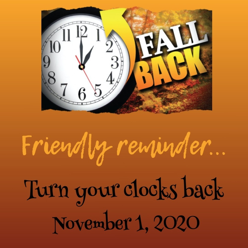 Daylight Savings Time Ends Nov. 1