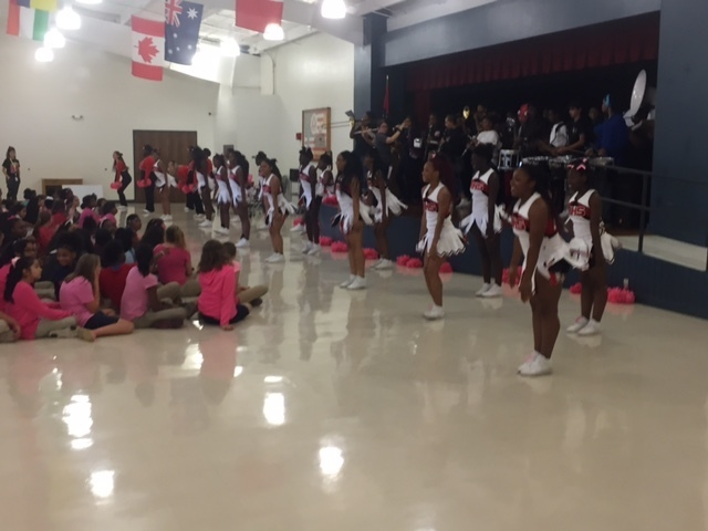 HHS Cheerleaders and band boost BHE pep rally.