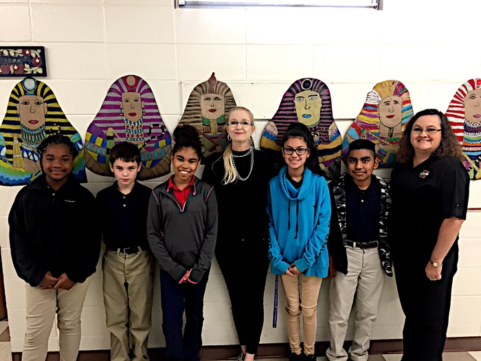 Egyptian Artwork winners, Artist in Residence (Mary Overton) and Mrs. Smelley