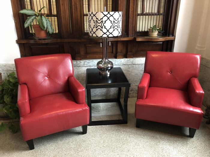 Lobby furnishings donated by Ivan Smith Furniture in Hope.